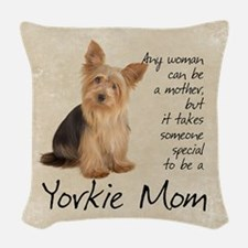 Yorkie Mom Woven Throw Pillow