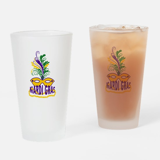 MARDI GRAS MASK AND BEADS Drinking Glass