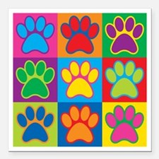 "Pop Art Paws Square Car Magnet 3"" x 3"""