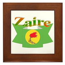 Zaire ribbon flag Framed Tile