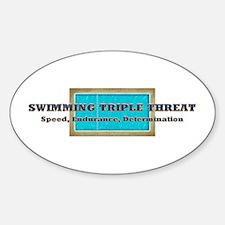 Swimming Triple Threat Sticker (oval)