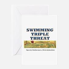 Swimming Triple Threat Greeting Card