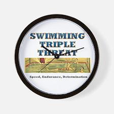Swimming Triple Threat Wall Clock