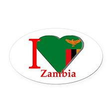 I love Zambia Oval Car Magnet