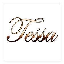"Gold Tessa Square Car Magnet 3"" x 3"""