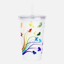 Butterflies and Rainbo Acrylic Double-wall Tumbler