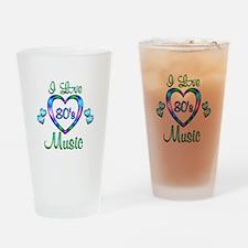 I Love 80s Music Drinking Glass