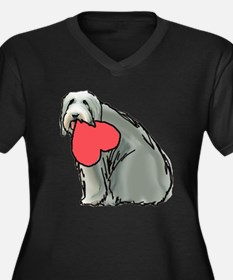 Beardie with Heart Women's Plus Size V-Neck Dark T