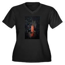 New York Sky Women's Plus Size V-Neck Dark T-Shirt