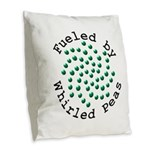 Fueled by Whirled Peas Burlap Throw Pillow