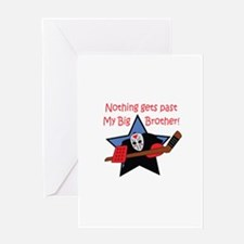 BIG BROTHER GOALIE Greeting Cards