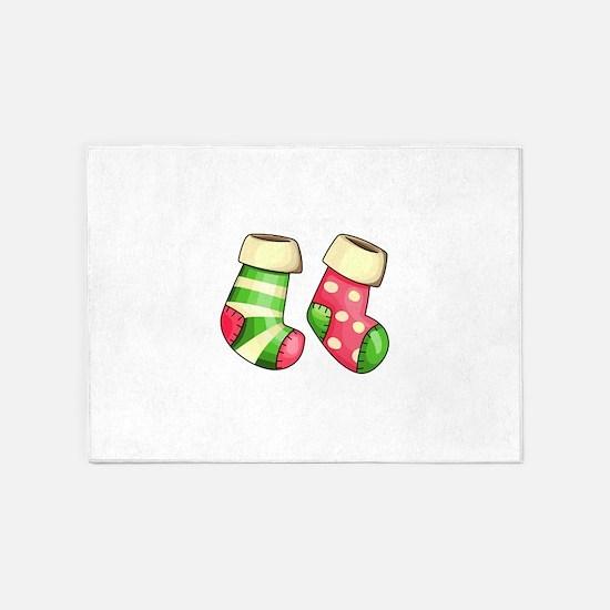 Christmas Stockings 5'x7'Area Rug