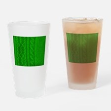 WOOL knit green cable design Drinking Glass