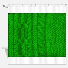 WOOL knit green cable design Shower Curtain