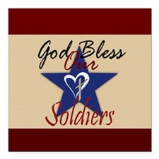"God Bless Soldiers Square Car Magnet 3"" x 3"""