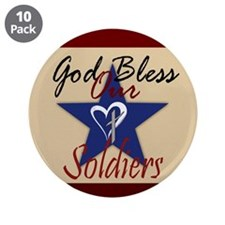 """God Bless Soldiers 3.5"""" Button (10 pack)"""