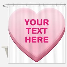 Pink Custom Candy Heart Shower Curtain