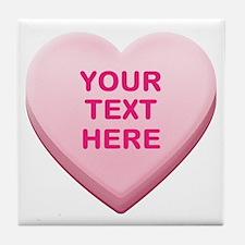 Pink Custom Candy Heart Tile Coaster