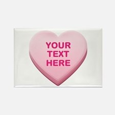Pink Custom Candy Heart Rectangle Magnet