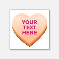 "Orange Custom Candy Heart Square Sticker 3"" x 3"""