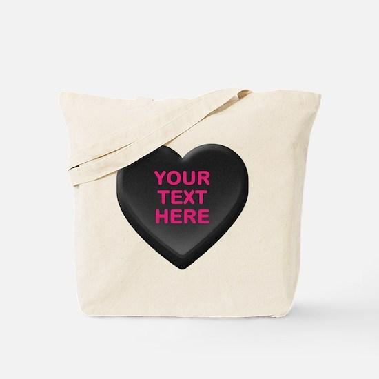 Black Custom Candy Heart Tote Bag