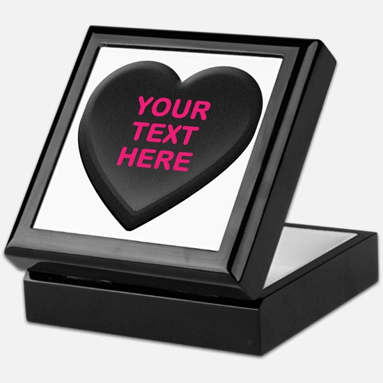 Black Custom Candy Heart Keepsake Box