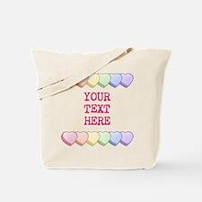 Custom Rainbow Candy Hearts Tote Bag