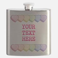 Custom Rainbow Candy Hearts Flask