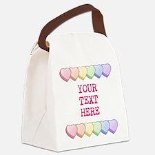 Custom Rainbow Candy Hearts Canvas Lunch Bag