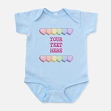 Custom Rainbow Candy Hearts Infant Bodysuit