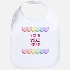 Custom Rainbow Candy Hearts Bib