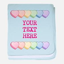 Custom Rainbow Candy Hearts baby blanket