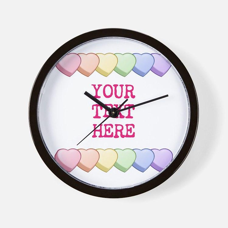 Custom Rainbow Candy Hearts Wall Clock