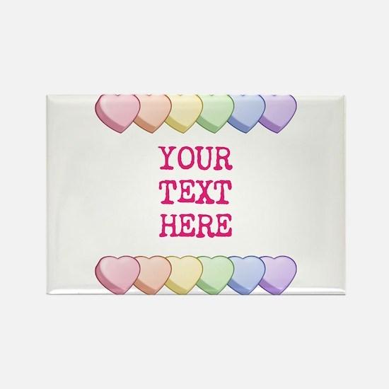 Custom Rainbow Candy Hearts Rectangle Magnet