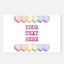 Custom Rainbow Candy Hear Postcards (Package of 8)