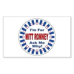 Mitt Romney for President Rectangle Decal