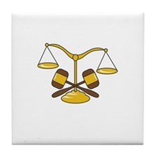 GAVELS AND SCALES Tile Coaster