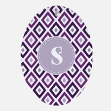 Purple Ikat Diamond Pattern Monogram Ornament (Ova