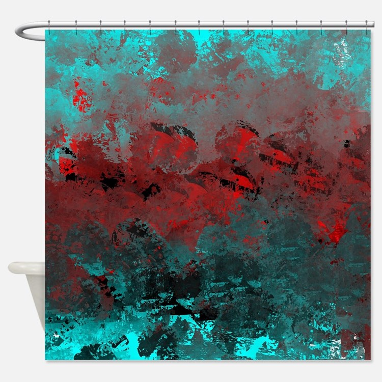Aqua Blue Red Shower Curtains
