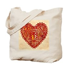 Patchwork Quilt Heart Tote Bag