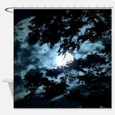 Moon through the trees. Shower Curtain