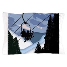 Chairlift Full of Skiers Pillow Case