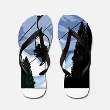 Chairlift Full of Skiers Flip Flops