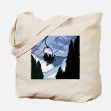 Chairlift Full of Skiers Tote Bag