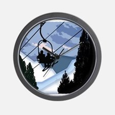 Chairlift Full of Skiers Wall Clock