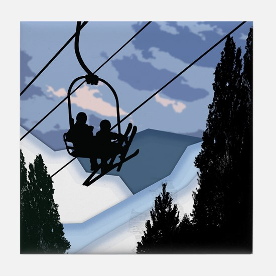 Chairlift Full of Skiers Tile Coaster