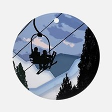 Chairlift Full of Skiers Ornament (Round)