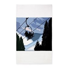Chairlift Full of Skiers Area Rug