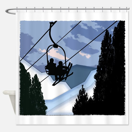 Chairlift Full of Skiers Shower Curtain