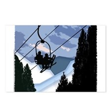 Chairlift Full of Skiers Postcards (Package of 8)